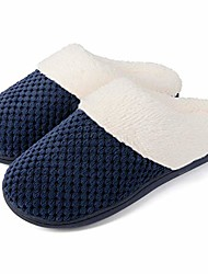 cheap -women& #39;s comfort coral fleece memory foam slippers fuzzy plush lining slip-on clog house shoes for indoor & outdoor use& #40;navy blue,9-10& #41;