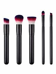 cheap -5 pcs makeup brush set premium nylon fiber wood handle cosmetics brushes for women (t-5-063)