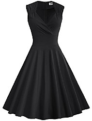 cheap -women's 50s 60s vintage sexy v-neck swing dress(s,black)