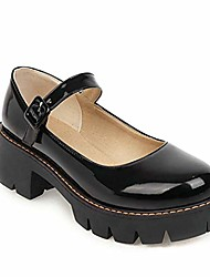 cheap -women's round toe ankle strap mary janes platform low heel chunky pumps oxford dress shoes black