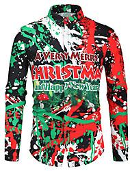 cheap -Men's Graphic Shirt Long Sleeve Christmas Tops Button Down Collar Green