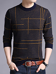 cheap -Men's Cardigan Pullover Sweater Knitted Braided Striped Color Block Stylish Ethnic Style Acrylic Fibers Long Sleeve Sweater Cardigans Crew Neck Fall Winter Blue Yellow Red