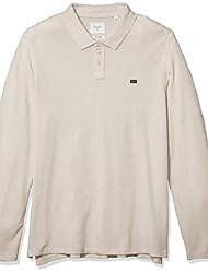 cheap -men's long sleeve cotton cashmere pique polo shirt, natural, s