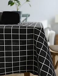 cheap -Table Cloth Cotton Linen Literary Checkered Tablecloth Art Gray Small Fresh Rectangle