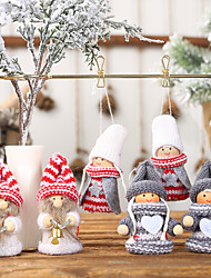 cheap -2pcs Christmas Decorations Knitted Puppets Small Dolls Ornaments Pendants