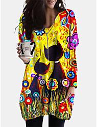 cheap -Women's Shift Dress Short Mini Dress - Long Sleeve Cat Print Dress Animal Patchwork Print Spring Fall V Neck Casual Boho Cotton Loose 2020 Yellow L XL XXL 3XL 4XL 5XL
