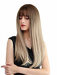 cheap -wigs for white women 23 inch nature straight chocolate brown root synthetic wigs with blunt bang