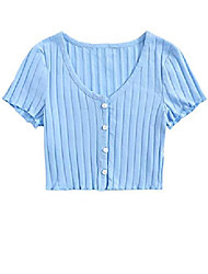 cheap -women's casual rib knit button down v neck short sleeve crop tee shirts baby blue s