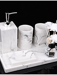 cheap -Plastic Resin Bathroom Ensemble Marble Bathroom Set - 6pcs Bathroom Decoration Includes sanitizer Soap Dispenser, Toothbrush Holder,Tray,Soap Dish and 2Tumblers