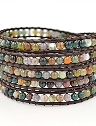 cheap -genuine leather india agate bracelet bangle cuff rhinestone crystal bead 3 & 5 wrap adjustable (5 wrap india agate)