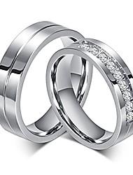 voordelige -paar ringen voor hem en haar roestvrij staal bijpassende belofte ring prinses cut bruids bruiloft verlovingsband zirconia cz ring voor vrouwen mannen liefde bruids sieraden meisjes geschenken