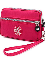 cheap -women's canvas cell phone wristlets bag workout phone clutch wallets purse zip handbag for samsung galaxy s10 s9 s8 plus note 9 note 8 lg v40 thinq stylo 4 motorola moto g7 fit with case on(rose red)