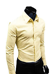 cheap -new mens luxury casual slim fit stylish dress shirts 17 colors 5 size (eur xl(us m), yellow)