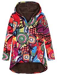 cheap -Women's Print Basic Fall & Winter Coat Long Daily Long Sleeve Coat Tops Red
