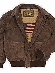 cheap -men's air force a-2 suede leather flight bomber jacket brown big 2xl