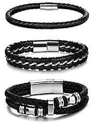 cheap -3pcs stainless steel braided leather bracelet for men women leather wrist band cuff bangle bracelet magnetic clasp 7.5-8.5 inches