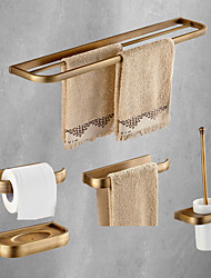 cheap -Bathroom Accessory Set Antique Metal with Toilet Paper Holders,Tower Rack,Soap Dish and Bathroom Rack Wall Mounted 5pcs