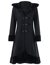 cheap -Women's Solid Colored Streetwear Fall & Winter Trench Coat Regular Daily Long Sleeve Wool Blend Coat Tops Black