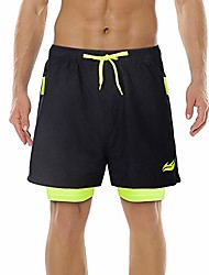 cheap -men's 2-in-1 drawstring sport shorts quick dry breathable running athletic shorts with 2 zipper pockets black