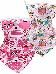 cheap -kids bandanas face mask, kids full-coverage tube face mask bandanas neck gaiter with ear loops, back to school scarf bandanas face mask for boys girls(2 pack-meow)