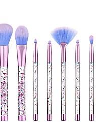 cheap -liquid makeup brushes 7 pcs set crystal quicksand cosmetic tool kit with bag (pink)