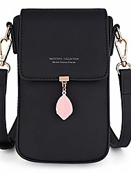 cheap -crossbody bags for women leaf pendant card holder phone checkbook organizer snap pocket purse black