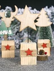 cheap -Christmas Wooden Ornament Decoration Creative Log Christmas Elk Head Table Pendulum Christmas Tree Five-pointed Star