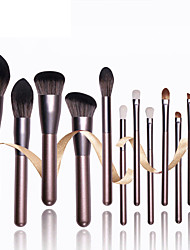 cheap -Coffee color small grape 12 makeup brushes thick frosted high-gloss aluminum tube with large fiber hair volume soft and skin-friendly