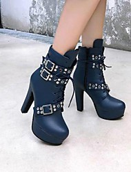 cheap -Women's Boots Chunky Heel Round Toe Booties Ankle Boots Classic Daily Walking Shoes PU Buckle Lace-up Solid Colored White Black Yellow / Mid-Calf Boots