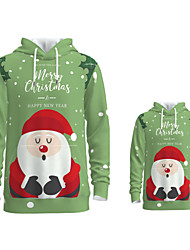 cheap -Daddy and Me Active Santa Claus Graphic 3D Print Animal Print Long Sleeve Regular Hoodie & Sweatshirt Green