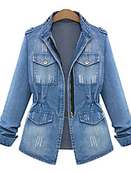 cheap -Women's Plus Size Denim Jacket Patchwork Solid Colored Regular Stand Collar Daily Spring &  Fall Blue Big Size L XL XXL 3XL 4XL