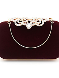 cheap -Women's Bags Polyester Alloy Evening Bag Crystals Solid Color Handbags Wedding Event / Party Black Drak Red