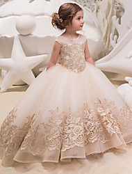 cheap -Princess / Ball Gown Sweep / Brush Train Party / Wedding Flower Girl Dresses - Lace / Tulle Cap Sleeve Jewel Neck with Bow(s) / Appliques