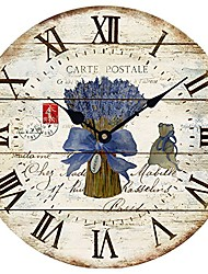 """cheap -wood wall clock 12""""vintage french country print lavender in tin romantic shabby chic large decorative roman numerals analog battery operated silent for home decoration & #40;lavender blue&"""