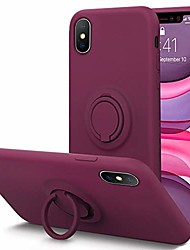 cheap -for iphone xs/x case fingerprint   kickstand   anti-scratch   microfiber liner shock absorption gel rubber full body protection liquid silicone case for iphone xs/x-winered
