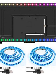 cheap -Black PCB TV Back Strip light Kit 3.28Ft -1M Multi-Colour 60leds Flexible 5050 RGB with 5v USB Cable and Mini Controller for TV/PC/Laptop Background Lighting