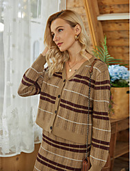 cheap -Women's Cardigan Knitted Striped Basic Acrylic Fibers Cotton Long Sleeve Sweater Cardigans V Neck Fall Winter Brown