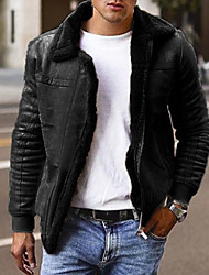 cheap -Men's Solid Colored Active Fall & Winter Coat Regular Daily Long Sleeve Polyster Coat Tops Black