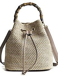 cheap -women's bucket drawstring handbag straw shoulder bag straw weave crossbody handbag beach bags with bamboo handle