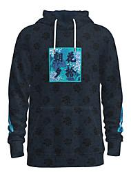 cheap -Men's Pullover Hoodie Sweatshirt Graphic Chinese Style Slogan Hooded Weekend 3D Print Casual Streetwear Hoodies Sweatshirts  Long Sleeve Navy Blue