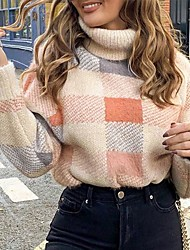 cheap -Women's Knitted Plaid Pullover Acrylic Fibers Long Sleeve Sweater Cardigans Turtleneck Fall Winter Blushing Pink