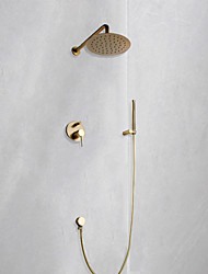 cheap -Shower Faucet Set - Rainfall Contemporary Brushed Gold Wall Mounted Ceramic Valve Bath Shower Mixer Taps / Brass