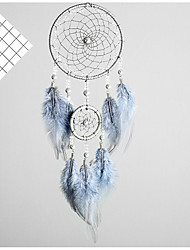 cheap -Boho Dream Catcher Handmade Gift Wall Hanging Decor Art Ornament Craft Feather Silver Bead 46*11cm for Kids Bedroom Wedding Festival
