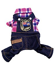 cheap -Cat Dog Costume Harness Jumpsuit Stripes Animal Jeans Cosplay Holiday Casual / Daily Winter Dog Clothes Puppy Clothes Dog Outfits Yellow Red Blue Costume for Girl and Boy Dog Jeans Cotton XS S M L XL