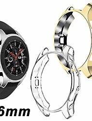 cheap -compatible samsung galaxy watch 46mm case 2018 (for sm-r805 and sm-r800 and gear s3 frontier sm-r760), (2 packs) soft tpu smart shockproof case cover bumper protector (clear and gold, 46mm)