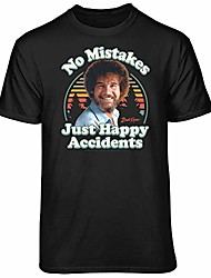 cheap -bob ross no mistakes just happy accidents retro graphic t-shirt (x-large - standard fit, black)