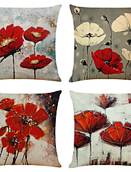 cheap -Set of 4 Artistic Flowers Linen Square Decorative Throw Pillow Cases Sofa Cushion Covers  Home Sofa Decorative