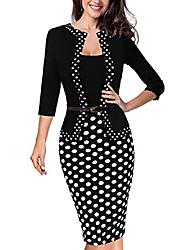cheap -women's 3/4 sleeve dot wear to work pencil dress b407 - black - 12
