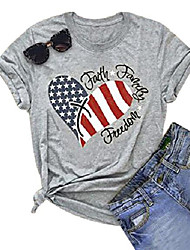 cheap -womens american flag print t-shirt 4th of july patriotic shirt casual stars stripes print tops tees (gray, s)