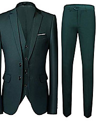 cheap -two buttons 3 pieces green men's suits single breasted wedding suits groom tuxedos green 34 chest / 28 waist